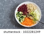 vegetarian lunch bowl with... | Shutterstock . vector #1022281249