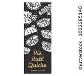 meat pie  roll  quiche vector... | Shutterstock .eps vector #1022285140