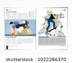 sport magazine layout with... | Shutterstock .eps vector #1022286370