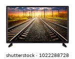 flat tv with a railroad going... | Shutterstock . vector #1022288728