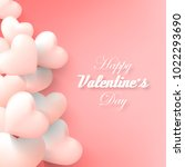 vector valentine and hearts... | Shutterstock .eps vector #1022293690