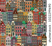 city streets with old buildings ... | Shutterstock .eps vector #1022299690