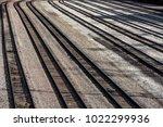 long line of multiple railroad... | Shutterstock . vector #1022299936