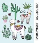 alpaca and cactus vector... | Shutterstock .eps vector #1022300500