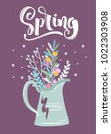 spring greeting card with... | Shutterstock .eps vector #1022303908