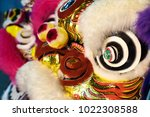 closeup lion head for lion dance | Shutterstock . vector #1022308588
