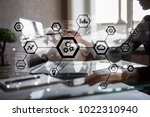 iot  automation  industry 4.0.... | Shutterstock . vector #1022310940