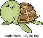cute happy sea turtle vector... | Shutterstock .eps vector #102231100
