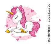 little pink magical unicorn.... | Shutterstock .eps vector #1022311120