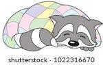 cheerful racoon sleeping in a... | Shutterstock .eps vector #1022316670