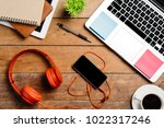 office desk table with laptop... | Shutterstock . vector #1022317246