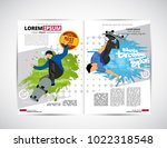 sport magazine layout with... | Shutterstock .eps vector #1022318548