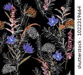 unfinished dark flower colorful ... | Shutterstock .eps vector #1022319664