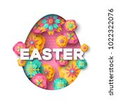 easter card with paper cut egg... | Shutterstock .eps vector #1022322076