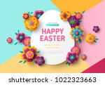 easter card with paper cut egg... | Shutterstock .eps vector #1022323663