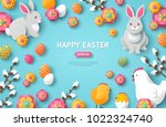 happy easter blue background.... | Shutterstock .eps vector #1022324740