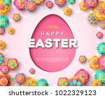 easter card with paper cut egg... | Shutterstock .eps vector #1022329123