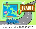 travel illustration vector with ... | Shutterstock .eps vector #1022333620