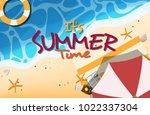 it's summer banner with beach... | Shutterstock .eps vector #1022337304