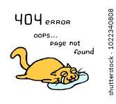 upset orange cat tik lies in...   Shutterstock .eps vector #1022340808