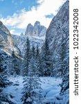 tre cime di lavaredo  dolomites ... | Shutterstock . vector #1022342008
