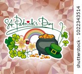 holiday label with shamrock ... | Shutterstock . vector #1022343514