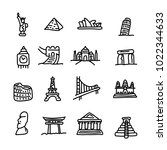 set of travel landmarks icon... | Shutterstock .eps vector #1022344633