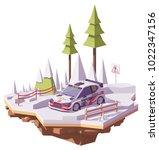 vector low poly rally racing... | Shutterstock .eps vector #1022347156