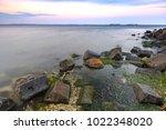beautiful sunset on the... | Shutterstock . vector #1022348020