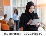pretty woman wearing hijab in...   Shutterstock . vector #1022348860