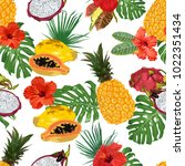 beautiful tropical pattern with ... | Shutterstock .eps vector #1022351434