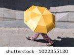 a walker on the street of the... | Shutterstock . vector #1022355130