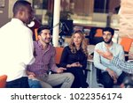 group of freelancers are... | Shutterstock . vector #1022356174