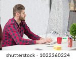 concentrated on work.... | Shutterstock . vector #1022360224
