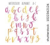 hand drawn watercolor alphabet... | Shutterstock . vector #1022362126