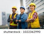 portrait of young engineer girl ... | Shutterstock . vector #1022362990
