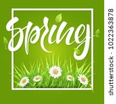 spring frame green grass and... | Shutterstock .eps vector #1022363878