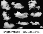 set of clouds white on isolated ... | Shutterstock . vector #1022368348