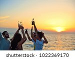people celebration beach party... | Shutterstock . vector #1022369170