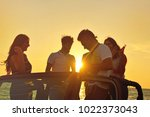 group of happy friends making...   Shutterstock . vector #1022373043