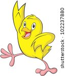 happy baby chicken cartoon | Shutterstock .eps vector #102237880