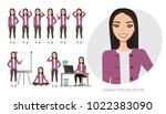 set of emotions for asian... | Shutterstock .eps vector #1022383090