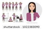 set of emotions for asian... | Shutterstock .eps vector #1022383090
