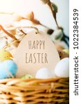 happy easter. congratulatory... | Shutterstock . vector #1022384539