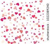 flying heart confetti ... | Shutterstock .eps vector #1022389240