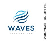 wave logo vector | Shutterstock .eps vector #1022391148