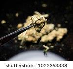 close up of pot bud. medical... | Shutterstock . vector #1022393338