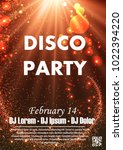 disco night party vector poster ... | Shutterstock .eps vector #1022394220