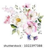 decorative watercolor flowers.... | Shutterstock . vector #1022397388