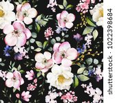 seamless pattern with spring... | Shutterstock . vector #1022398684